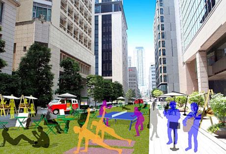 ウォーカブル船場2020社会実験(11/8@大阪市中央区高麗橋3丁目) 車両通行止めにより、街路空間の再編を可視化