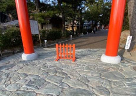 (2)西大鳥居下の「青石」の乱張り舗装